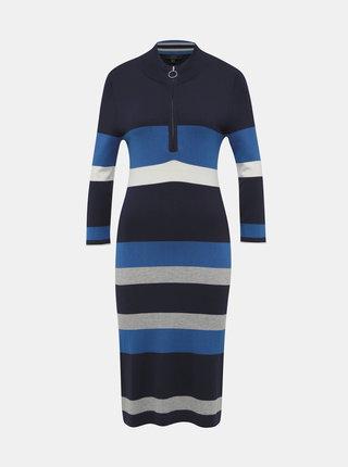 Modré pruhované svetrové šaty Yest