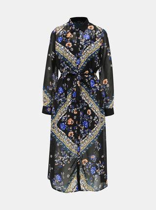 Modro-čierne kvetované košeľové midišaty ONLY Nina