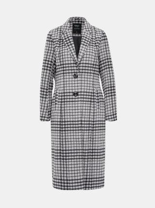 Svetlošedý kockovaný kabát s prímesou vlny ONLY Romina