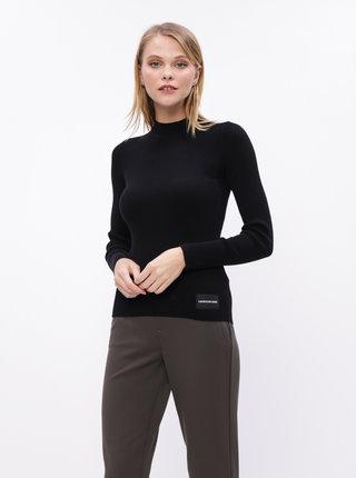 Černý dámský žebrovaný rolák s příměsí vlny Calvin Klein Jeans
