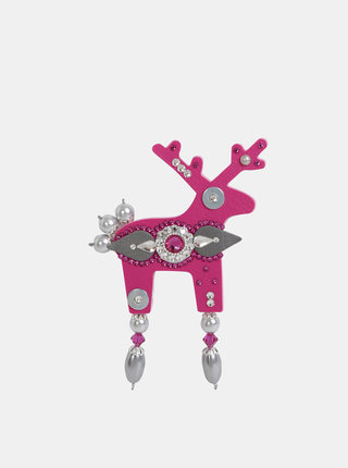 Tmavě růžová velká brož s kamínky Preciosa Components Deers Valter
