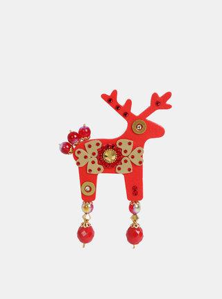 Červená velká brož s kamínky Preciosa Components Deers Audrey