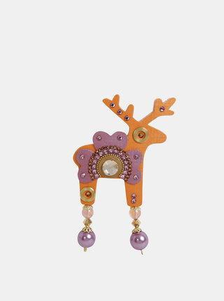 Oranžová veľká brošňa s kamiekami Preciosa Components Deers Frida