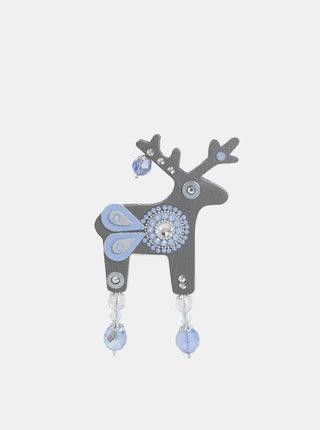 Šedá velká brož s kamínky Swarovski Crystals Deers Mrazík