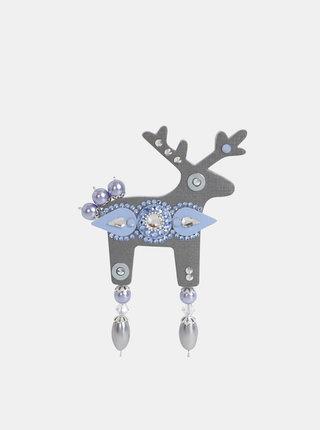 Šedá veľká brošňa s kamienkami  Preciosa Components Deers Ledík