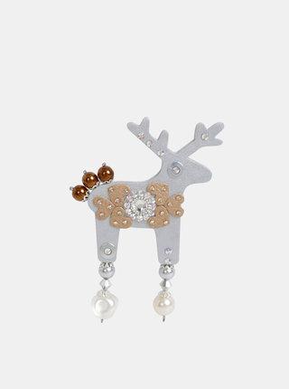 Velká brož ve stříbrné barvě s kamínky Preciosa Components Deers Samosi