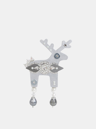 Velká brož ve stříbrné barvě s kamínky Preciosa Components Deers Sallierrino