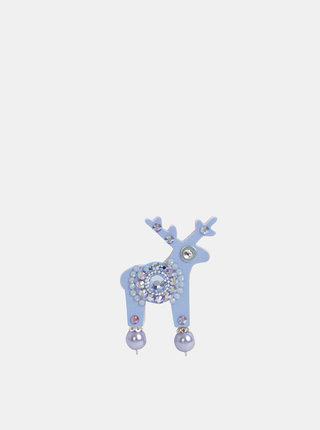 Modrá malá brošňa s kamienkami Swarovski Crystals Deers Messie
