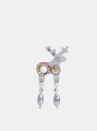 Malá brošňa v striebornej farbe s kamienkami Swarovski Crystals Deers Vivienna
