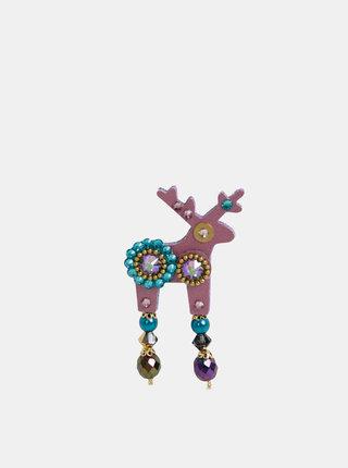 Starorůžová malá brož s kamínky Preciosa Components Deers Rasmus