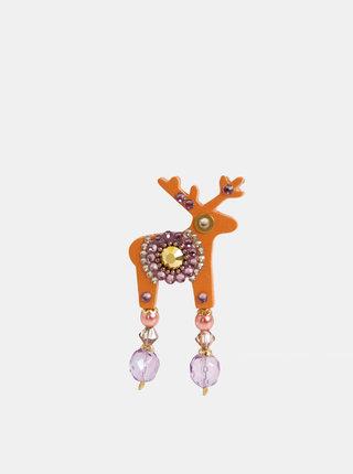 Oranžová malá brož s kamínky Preciosa Components Deers Jenny
