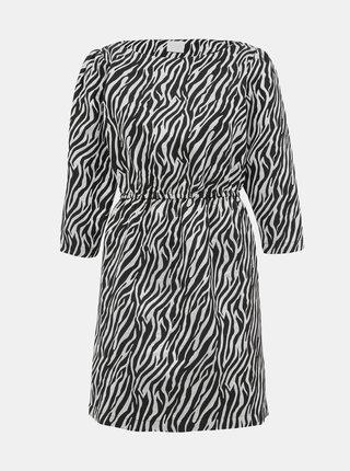 Šaty v striebornej a čiernej farbe so zebrovaným vzorom VILA Arna