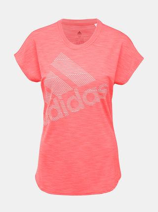 Růžové dámské funkční tričko s potiskem adidas Performance