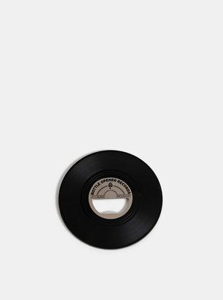 Černý otvírák ve tvaru gramofonové desky Gift Republic