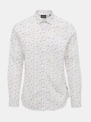 Biela kvetovaná slim fit košeľa ONLY & SONS Flow