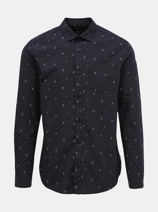 Tmavomodrá kvetovaná slim fit košeľa ONLY & SONS Flow
