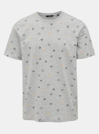 Světle šedé vzorované tričko ONLY & SONS Elements