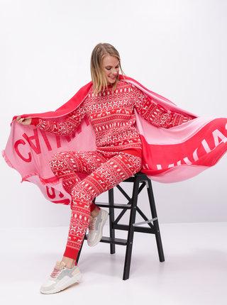 Červené tepláky s vianočným motívom VILA Kosi