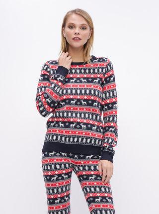 Červeno-modrý sveter s vianočným vzorom VILA Wall