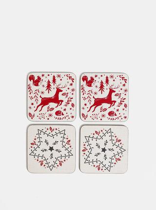 Sada štyroch podtáciek v krémovej farbe s vianočným motívom Cooksmart