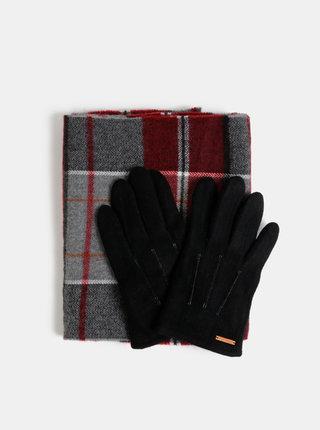 Sada černých vlněných rukavic a červené kostkované šály Portland