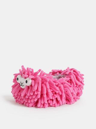 Růžové čistící papuče ve tvaru lamy Gift Republic