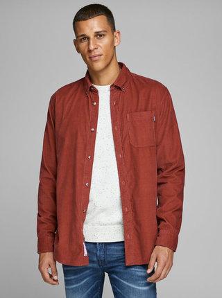Červená manšestrová slim fit košile Jack & Jones Tray