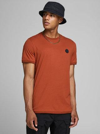 Oranžové slim fit tričko Jack & Jones Booker