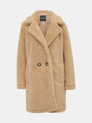 Světle hnědý kabát z umělé kožešiny TALLY WEiJL