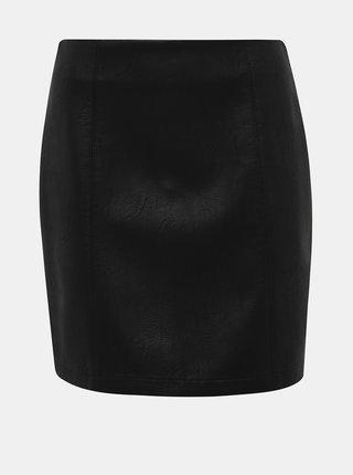 Černá koženková minisukně Dorothy Perkins Seam