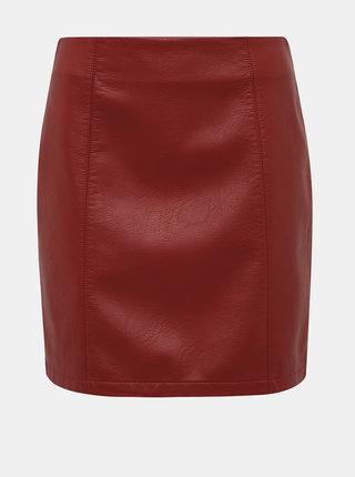 Červená koženková minisukňa Dorothy Perkins Seam