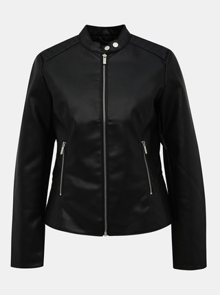 Černá koženková bunda Dorothy Perkins