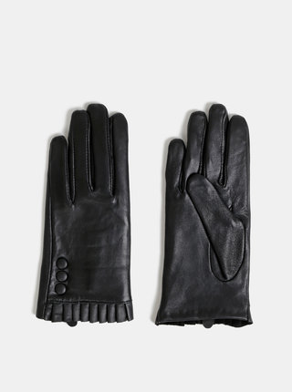 Černé kožené rukavice Dorothy Perkins