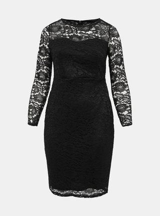 Čierne krajkové púzdrové šaty Dorothy Perkins Curve