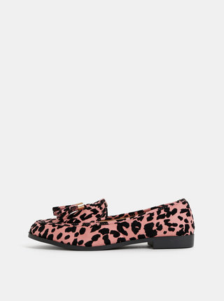 Čierno-ružové mokasíny s leopardím vzorom v semišovej úprave Dorothy Perkins