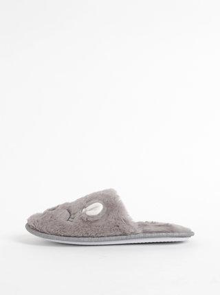 Šedé papuče ve tvaru zajíce Dorothy Perkins