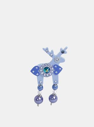 Modrá malá brož s kamínky Preciosa Components Deers Debsie