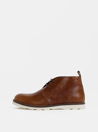 Hnedé pánske kožené členkové topánky Burton Menswear London