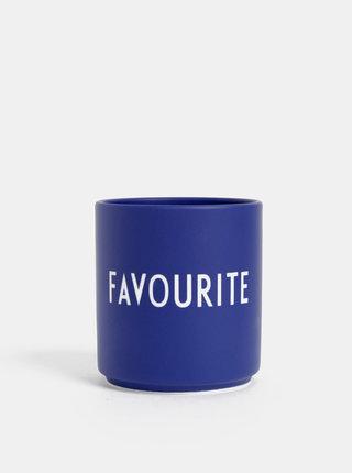 Tmavomodrý porcelánový hrnček Design Letters Favourite 300 ml