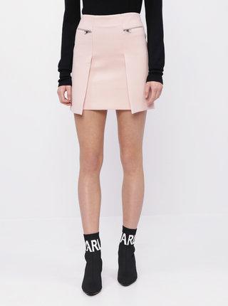Svetloružová sukňa so zipsami KARL LAFERFELD