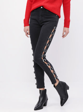 Tmavě šedé zkrácené skinny fit džíny s přezkami TALLY WEiJL