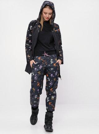 Černý dámský květovaný funkční zimní kabát Maloja Nahum
