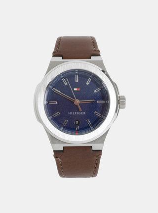 Pánske hodinky s hnedým koženým remienkom Tommy Hilfiger