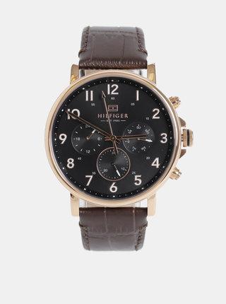 Pánske hodinky s tmavohnedým koženým remienkom Tommy Hilfiger
