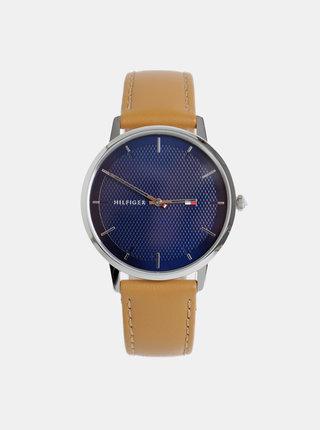Pánske hodinky so svetlohnedým koženým remienkom Tommy Hilfiger