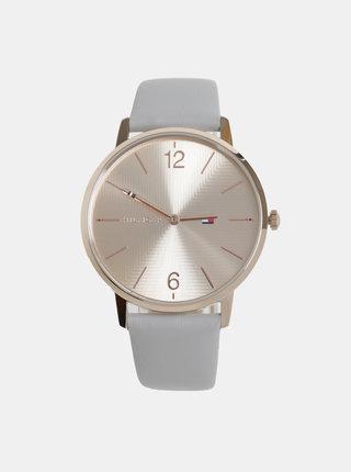 Dámské hodinky se světle šedým koženým páskem Tommy Hilfiger