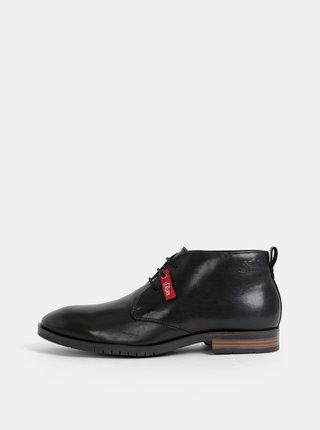Čierne pánske kožené členkové topánky s.Oliver