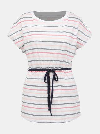 Růžovo-bílé dámské pruhované tričko SAM 73