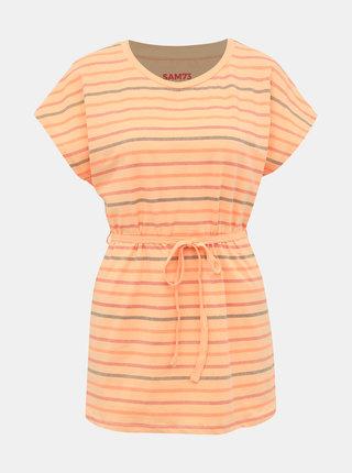 Oranžové dámske pruhované tričko SAM 73