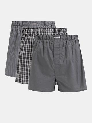 Sada troch šedých vzorovaných trenýrok Calvin Klein Underwear